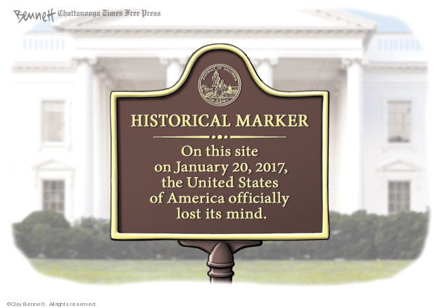 Historical Marker.  On this site on January 20, 2017, the United States of America officially lost its mind.