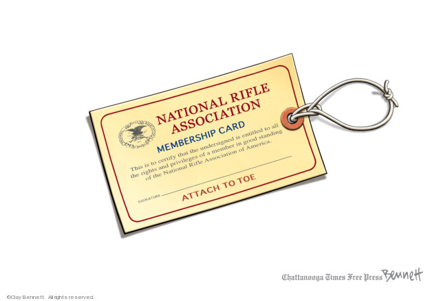 National Rifle Association Membership Card.  This is to certify that the undersigned is entitle to all the rights and privileges of a member in good standing of the National Rifle Association of America.  Signature.  Attach to toe.