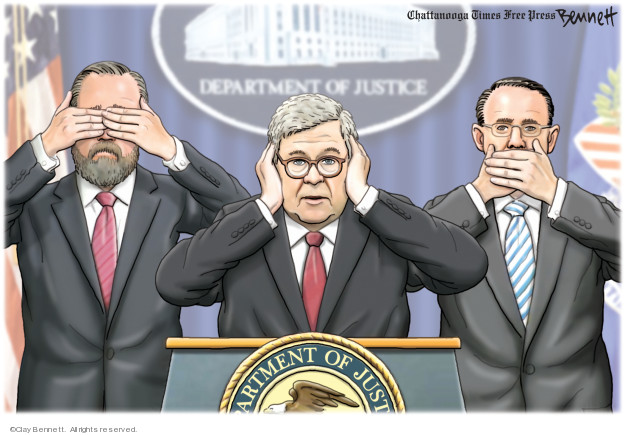 Cartoonist Clay Bennett  Clay Bennett's Editorial Cartoons 2019-04-19 Donald Trump Lawyers