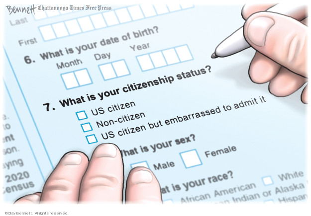 Last. First. 6. What is your date of birth? Month. Day. Year. 7. What is your citizenship status? US citizen. Non-citizen. US citizen but embarrassed to admit it. What is your sex? Male. Female … at is your race? African American. White … Indian or Alaska ... Hispan ...
