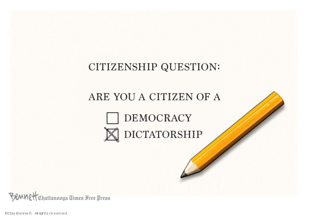 Cartoonist Clay Bennett  Clay Bennett's Editorial Cartoons 2019-07-14 democracy