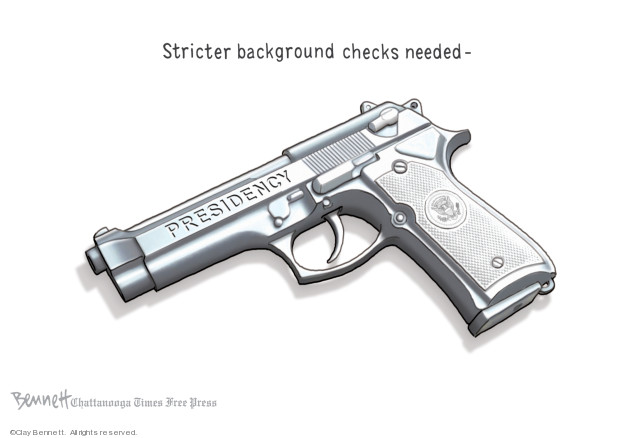 Cartoonist Clay Bennett  Clay Bennett's Editorial Cartoons 2019-08-07 gun control