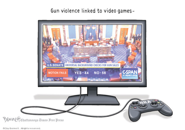 Cartoonist Clay Bennett  Clay Bennett's Editorial Cartoons 2019-08-11 gun control