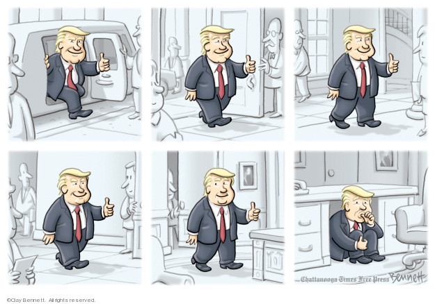 No caption (Donald Trump gives a thumbs up through different frames, finally showing him under his desk in the Oval Office and sucking his thumb).