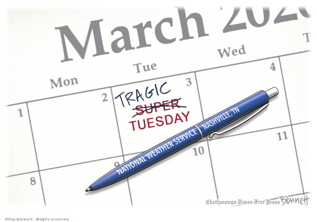 Cartoonist Clay Bennett  Clay Bennett's Editorial Cartoons 2020-03-04 vote