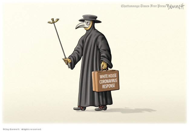 Cartoonist Clay Bennett  Clay Bennett's Editorial Cartoons 2020-03-13 black and white
