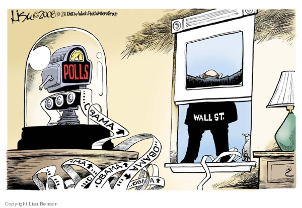 Polls. Obama (up). Wall St.