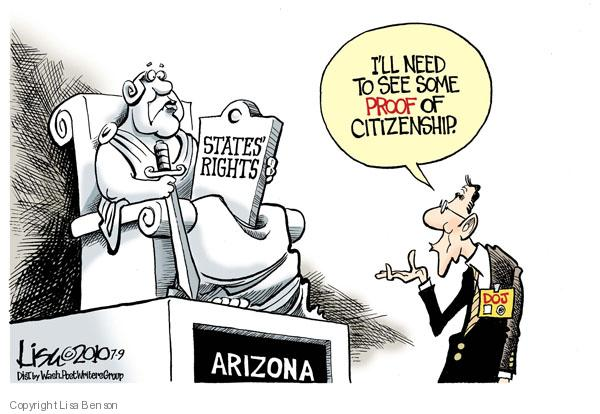 Ill need some proof of citizenship. DOJ. States rights. Arizona.