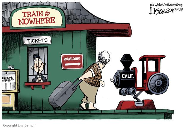 Cartoonist Lisa Benson  Lisa Benson's Editorial Cartoons 2012-08-25 train to nowhere