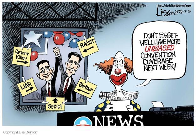 Cartoonist Lisa Benson  Lisa Benson's Editorial Cartoons 2012-08-30 election journalism