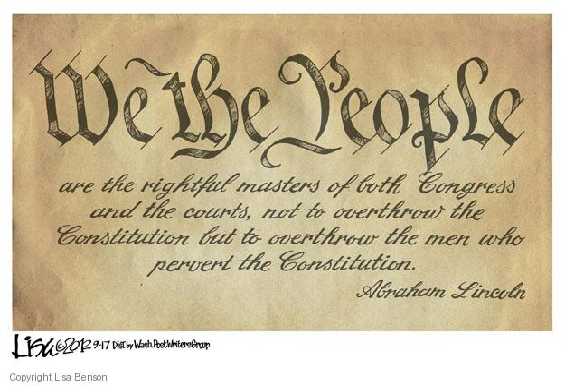 Cartoonist Lisa Benson  Lisa Benson's Editorial Cartoons 2012-09-17 Constitution