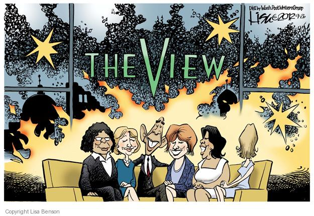 "The View.  (President Obama sits on the couch with the women of the television talk-show ""The View.""  Behind them, one sees a view of Middle East that is in flames.)"