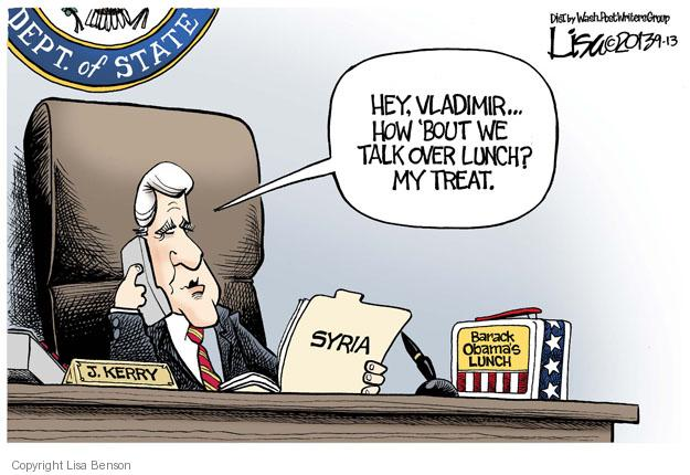Cartoonist Lisa Benson  Lisa Benson's Editorial Cartoons 2013-09-13 Barack Obama Vladimir Putin Syria