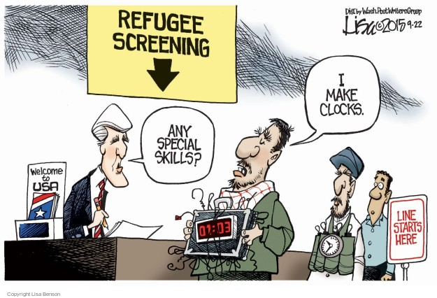 Refugee Screening. Welcome to USA. Any special skills? I make clocks. 01:03. Line starts here.