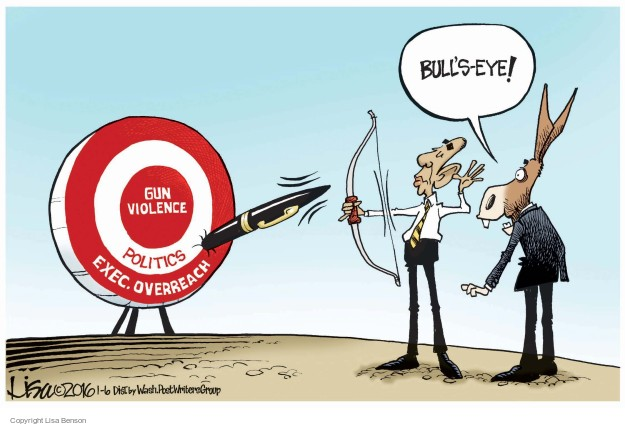 Bulls-eye! Gun violence. Politics. Exec. Overreach.