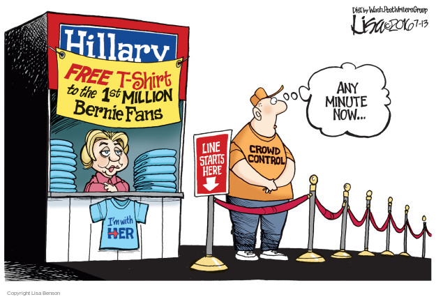 Lisa Benson  Lisa Benson's Editorial Cartoons 2016-07-13 Hillary Clinton and Bernie Sanders