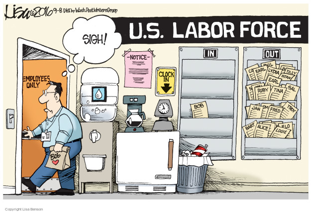 Cartoonist Lisa Benson  Lisa Benson's Editorial Cartoons 2016-09-08 unemployment