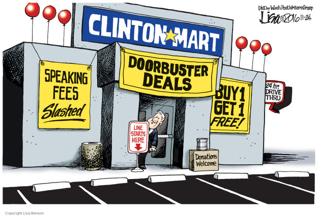 Lisa Benson  Lisa Benson's Editorial Cartoons 2016-11-24 Bill Clinton election
