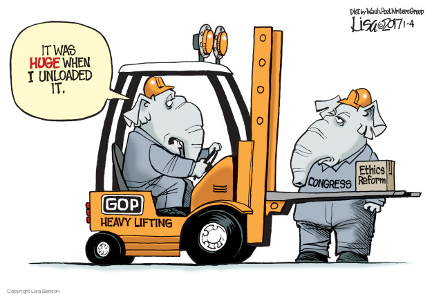 It was huge when I unloaded it.  GOP Heavy Lifting.  Congress.  Ethics Reform.