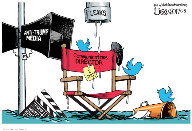 Leaks, Anti-Trump media. Communications director. I quit! Trump. White House.