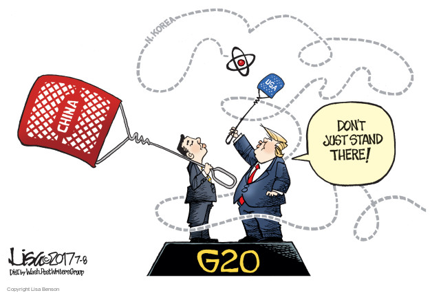 N. Korea. China. USA. Dont just stand there! G20.