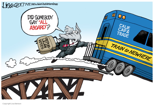 "Did somebody say ""all aboard""? Republican votes. Calif. Cap & Trade. Train to Nowhere."