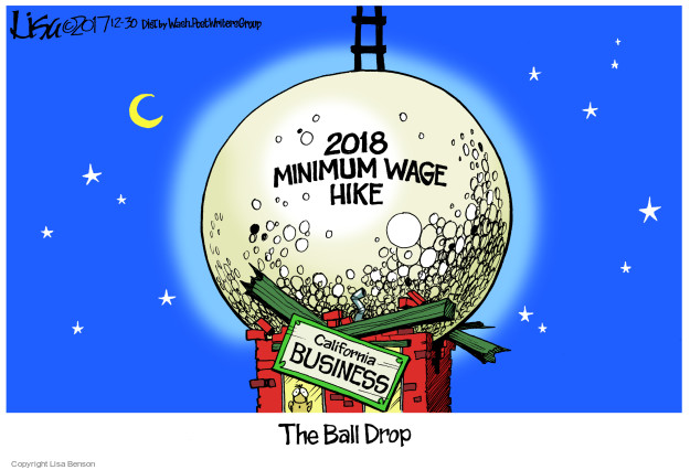 2018 Minimum Wage Hike. California business. The Ball Drop.