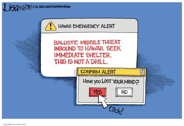 Cartoonist Lisa Benson  Lisa Benson's Editorial Cartoons 2018-01-16 missile