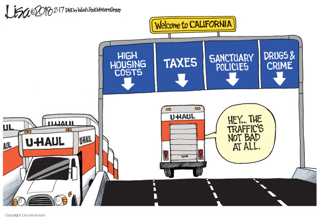 Welcome to California. High housing costs. Taxes. Sanctuary policies. Drugs & crime. Hey … the traffics not bad at all. Uhaul.