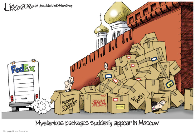 Fed Ex. Mysterious packages suddenly appera in Moscow. Return to Sender. Russian Diplomats. To: Putin.