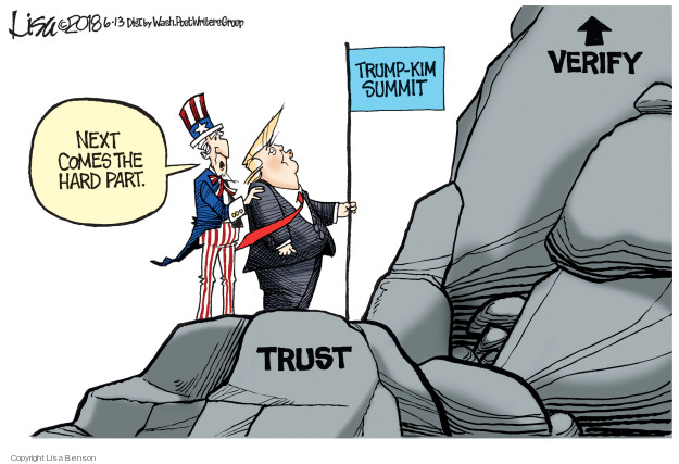 Next comes the hard part. Trump-Kim Summit. Trust. Verify.
