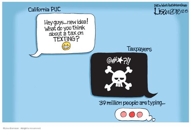 Cartoonist Lisa Benson  Lisa Benson's Editorial Cartoons 2018-12-15 tax