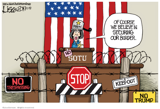 Cartoonist Lisa Benson  Lisa Benson's Editorial Cartoons 2019-01-19 border security