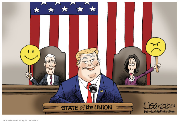 Cartoonist Lisa Benson  Lisa Benson's Editorial Cartoons 2020-02-04 Presidency
