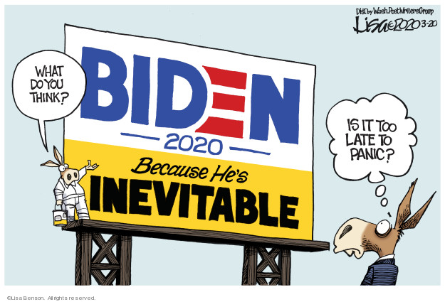 Cartoonist Lisa Benson  Lisa Benson's Editorial Cartoons 2020-03-20 2020 election