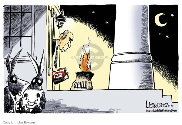 """No caption.  (Democrats in Halloween masks hide outside door of White House.  They have placed a bag labeled """"S.C.H.I.P."""" on porch.  Bag is on fire and President Bush is attempting to extinguish is with a """"veto"""" fire extinguisher.)"""
