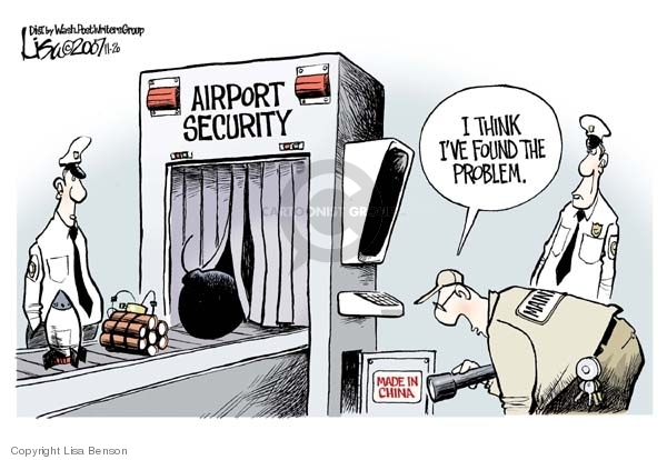 Cartoonist Lisa Benson  Lisa Benson's Editorial Cartoons 2007-11-20 airport security