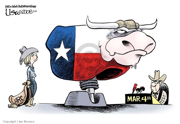 Cartoonist Lisa Benson  Lisa Benson's Editorial Cartoons 2008-03-04 Texas