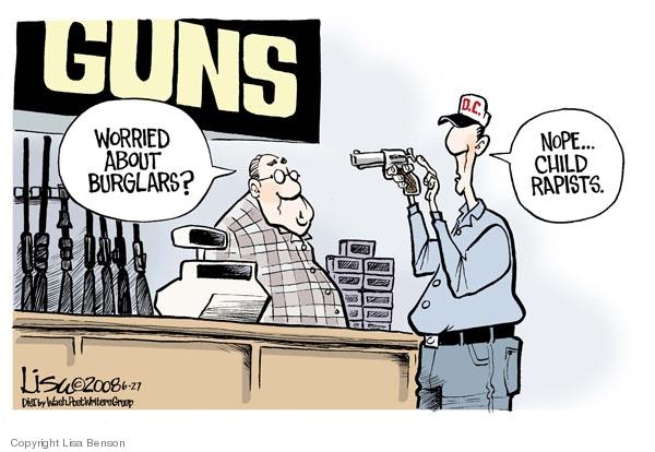 Guns. Worried about burglars? Nope..child rapists. D.C.
