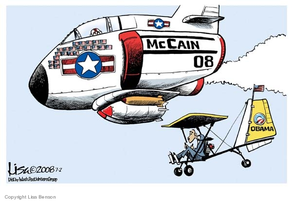 "No caption.  (A fighter jet labeled ""McCain 08"" flies past an ""Obama""  hang glider.)"