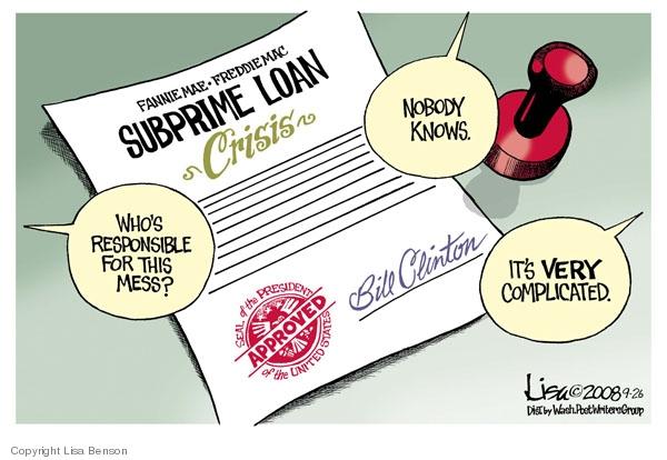 Lisa Benson  Lisa Benson's Editorial Cartoons 2008-09-26 mortgage