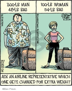 300 lb man. 48 lb bag. 100 lb woman. 54 lb bag. Ask an airline representative which one gets charged for extra weight.