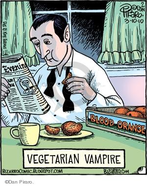 Evening. Vegetarian Vampire. Blood orange.