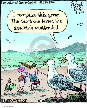 I recognize this group. The short one leaves his sandwich unattended.