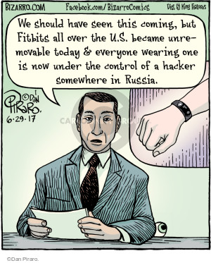 We should have seen this coming, but Fitbits all over the U.S. became unremovable today & everyone wearing one is now under the control of a hacker somewhere in Russia.