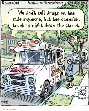 We dont sell drugs on the side anymore, but the cannabis truck is right down the street. Bunnys Watch. Children. Slow.