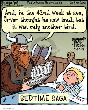 And, in the 42nd week at sea, Orvar thought he saw land, but it was only another bird. Bedtime Saga.