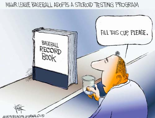 Major League Baseball Adopts a Steroid Testing Program.  Baseball Record Book.  Fill this cup, please.