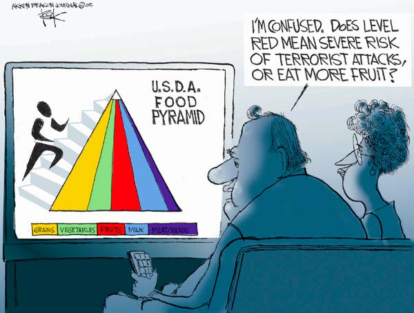 U.S.D.A. Food Pyramid.  Im confused.  Does level red mean severe risk or terrorist attacks, or eat more fruit?