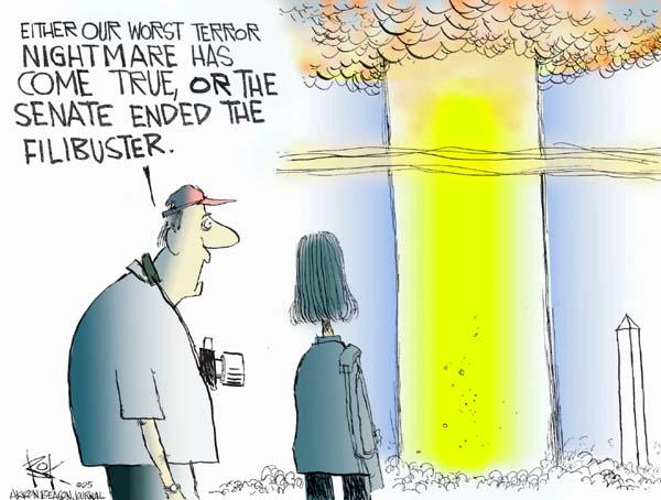 Cartoonist Chip Bok  Chip Bok's Editorial Cartoons 2005-05-03 filibuster